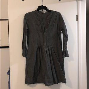 Long sleeve denim linen dress